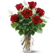 Flower Bouquet -  6 Red Roses in glass vase